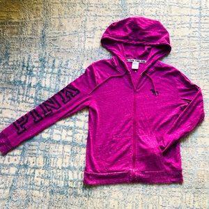 PINK zip up hoodie in purple w/black letters med